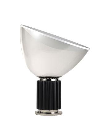 Leuchten - Tischleuchten - Taccia LED Small Tischleuchte / Diffusor aus Glas - H 48 cm - Flos - Sockel schwarz - Aluminium, geblasenes Glas