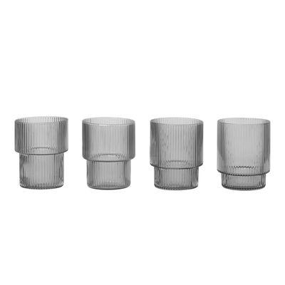 Verre Ripple / Set de 4 - Verre soufflé bouche - Ferm Living gris fumé en verre