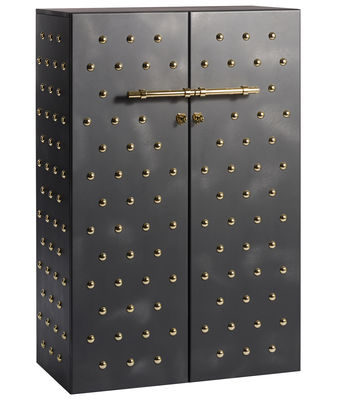 Furniture - Dressers & Storage Units - Principe Galeotto Wardrobe - / L 90 x H 150 cm by Opinion Ciatti - Black, 18K Gold - 24-carat gold, Glass, Painted MDF