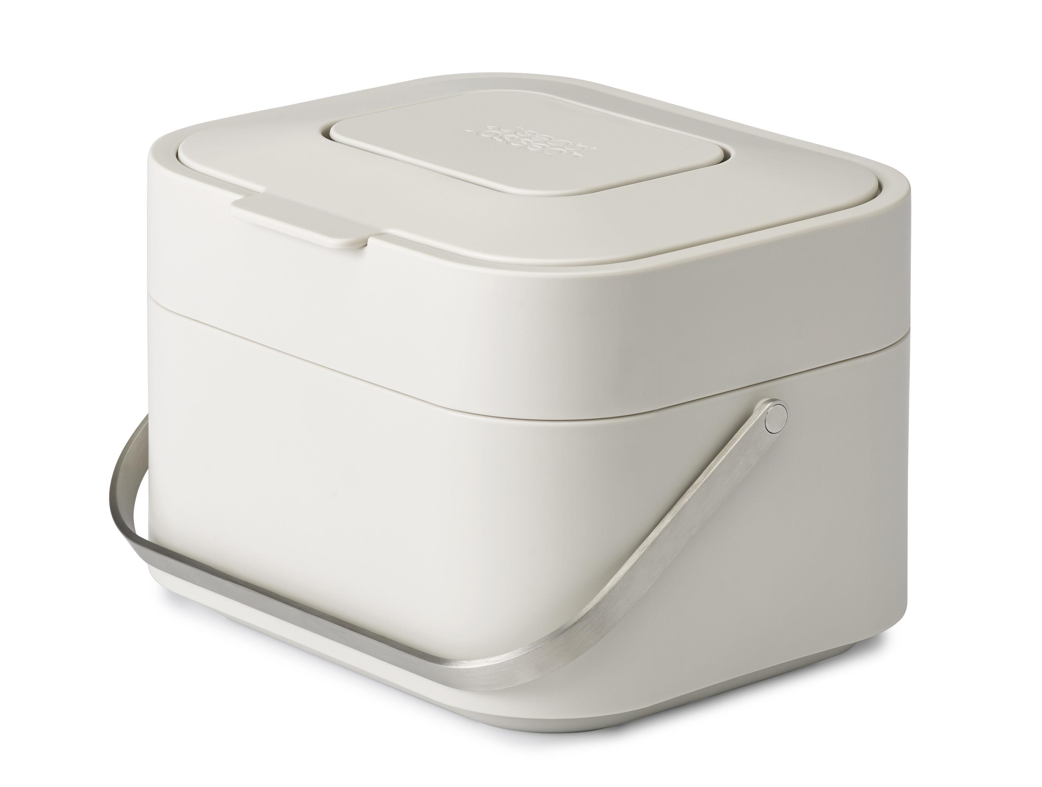 Küche - Mülleimer - Stack Abfallbehälter /  mit Geruchsfilter - Joseph Joseph - Steingrau - Edelstahl, Polypropylen