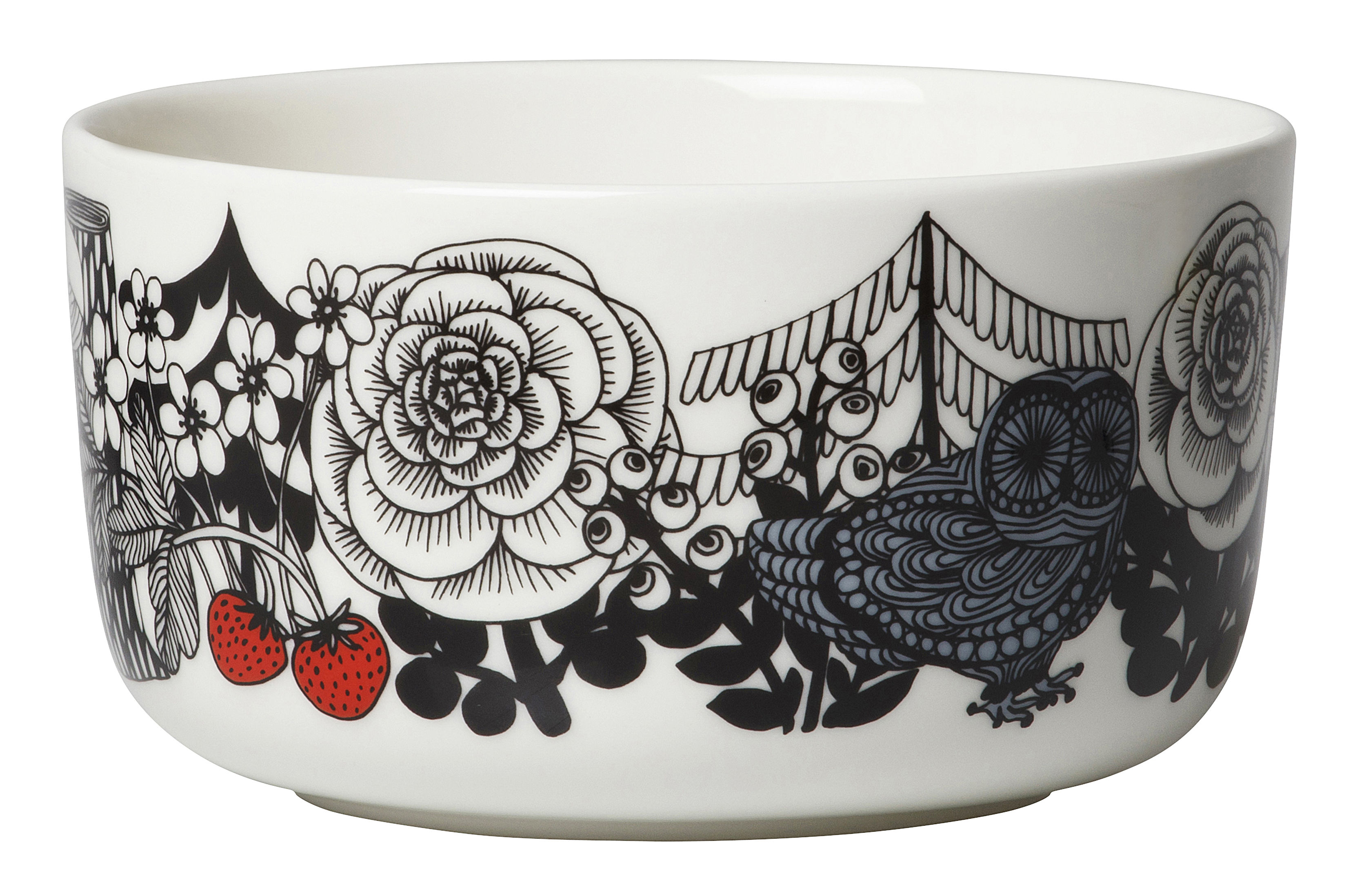 Tableware - Bowls - Veljekset Bowl - Ø 12,5 cm by Marimekko - Veljekset / White, Black & Red - Sandstone