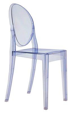 Mobilier - Chaises, fauteuils de salle à manger - Chaise empilable Victoria Ghost / Polycarbonate - Kartell - Bleu ciel - Polycarbonate