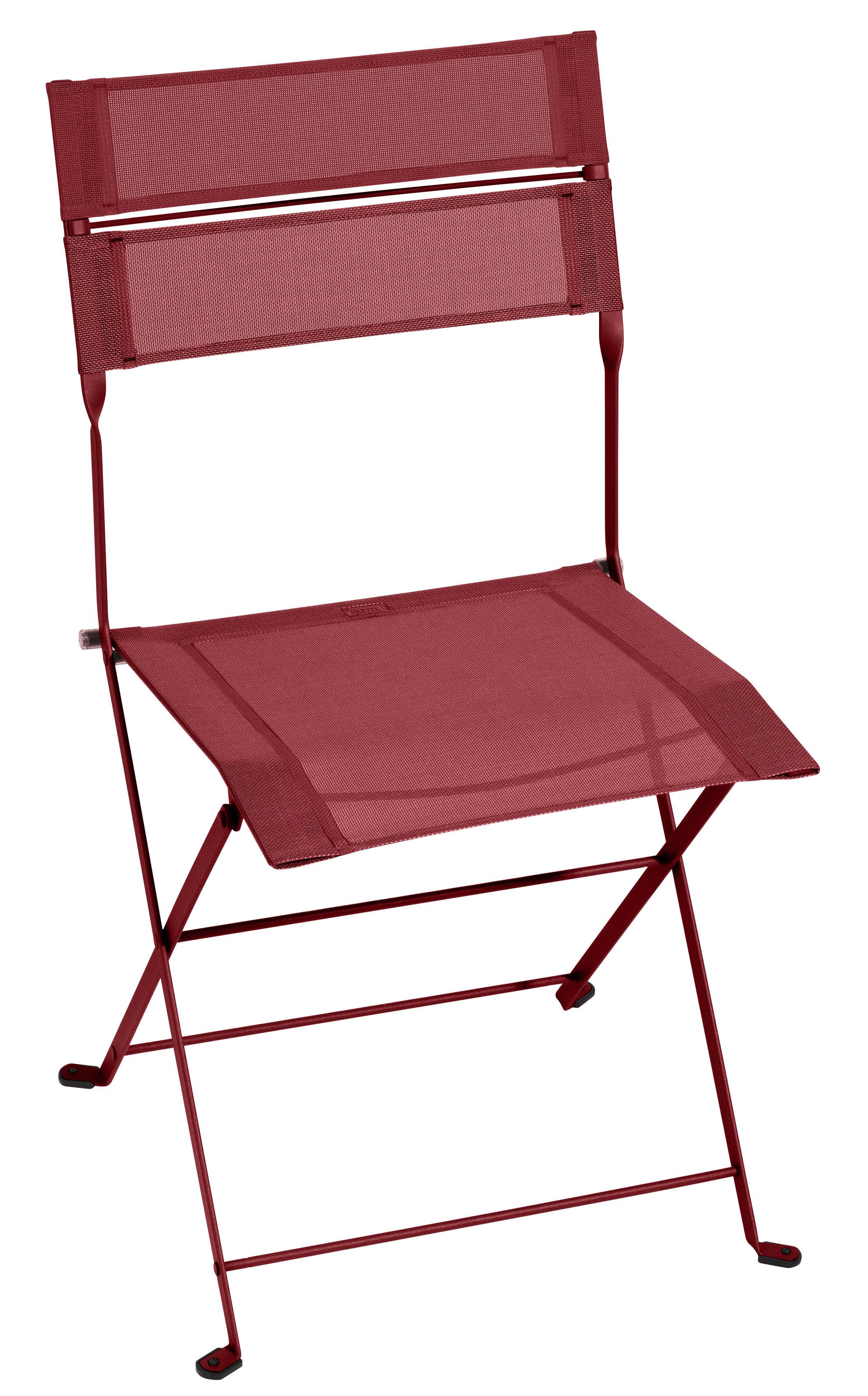 Mobilier - Chaises, fauteuils de salle à manger - Chaise pliante Latitude / Toile - Fermob - Piment - Acier laqué, Toile polyester