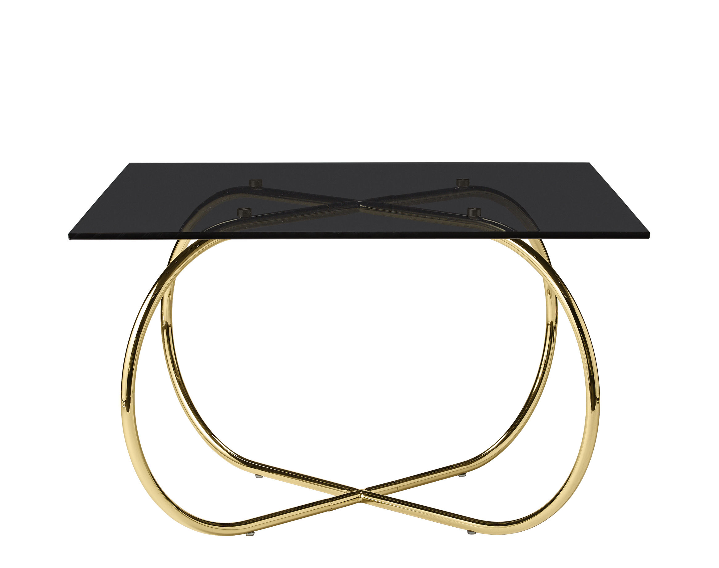 Furniture - Coffee Tables - Angui Coffee table - / Glass - 75 x 75 cm by AYTM - Gold base / Black top - Glass, Lacquered iron