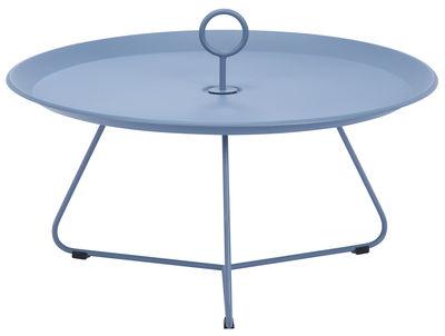 Möbel - Couchtische - Eyelet Large Couchtisch / Ø 80 cm x H 35 cm - Houe - Taubenblau - epoxy-beschichtetes Metall