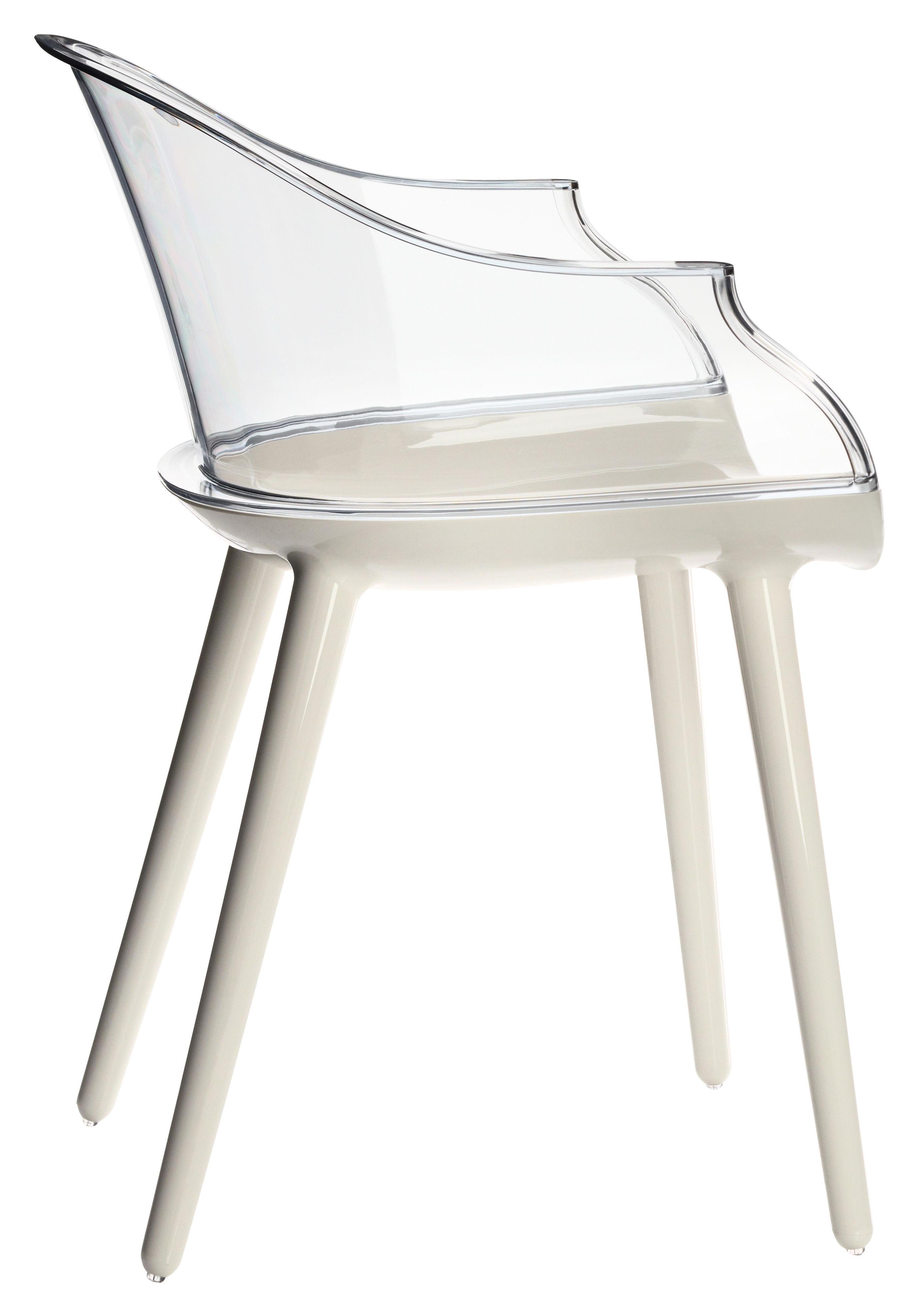 Mobilier - Chaises, fauteuils de salle à manger - Fauteuil Cyborg / Polycarbonate - Dossier transparent - Magis - Dossier cristal transparent / Pieds : blanc opaque - Polycarbonate