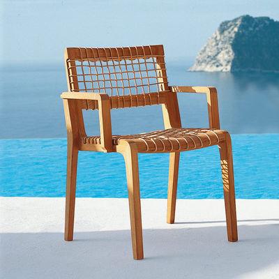 Mobilier - Chaises, fauteuils de salle à manger - Fauteuil empilable Synthesis / Avec coussin - Unopiu - Teck & naturel / Coussin blanc écru - Fibre synthétique Waprolace, Teck, Tissu acrylique