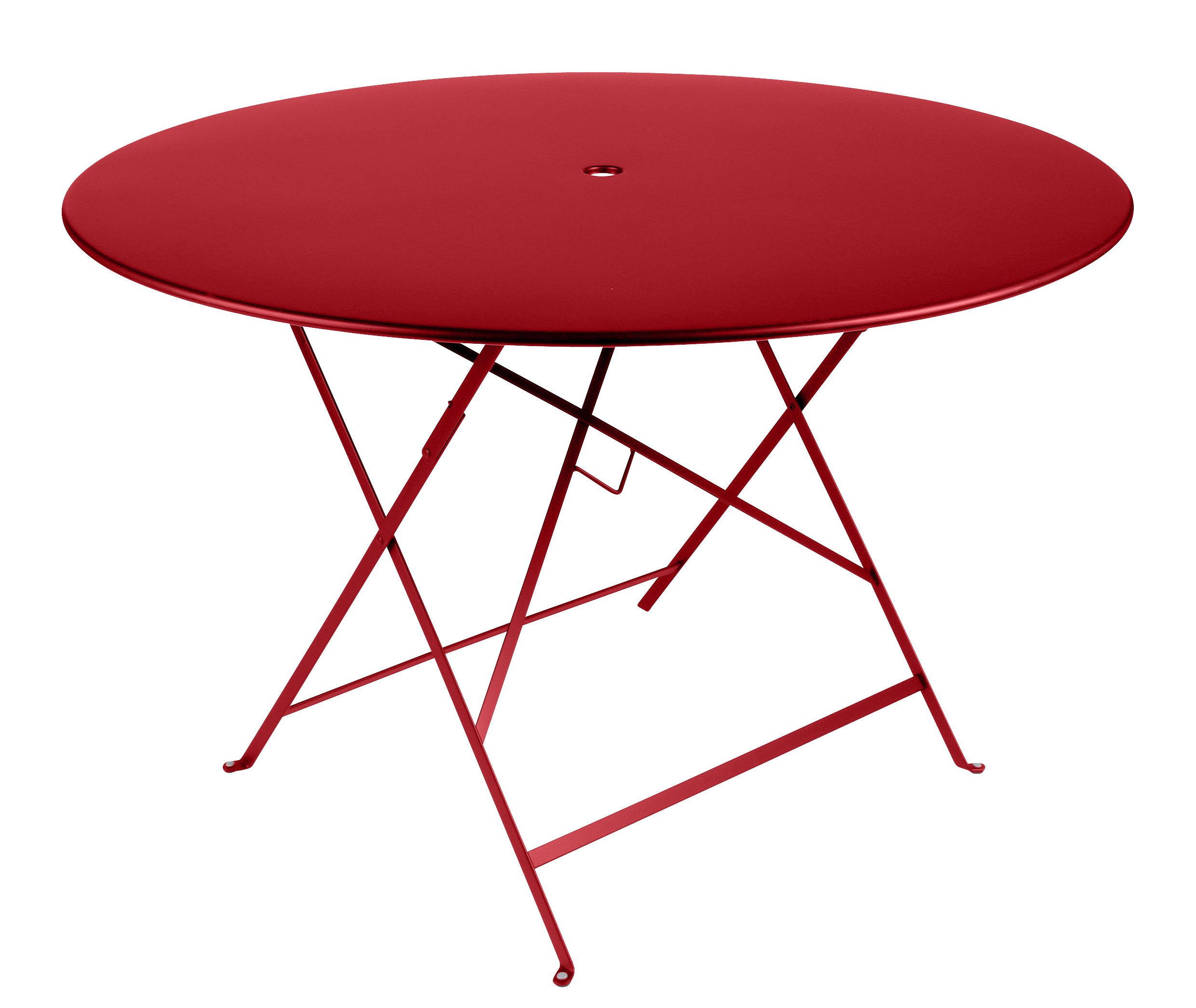 Outdoor - Garden Tables - Bistro Foldable table - Ø 117 cm - 6/8 people - Umbrella Hole by Fermob - Poppy - Painted steel