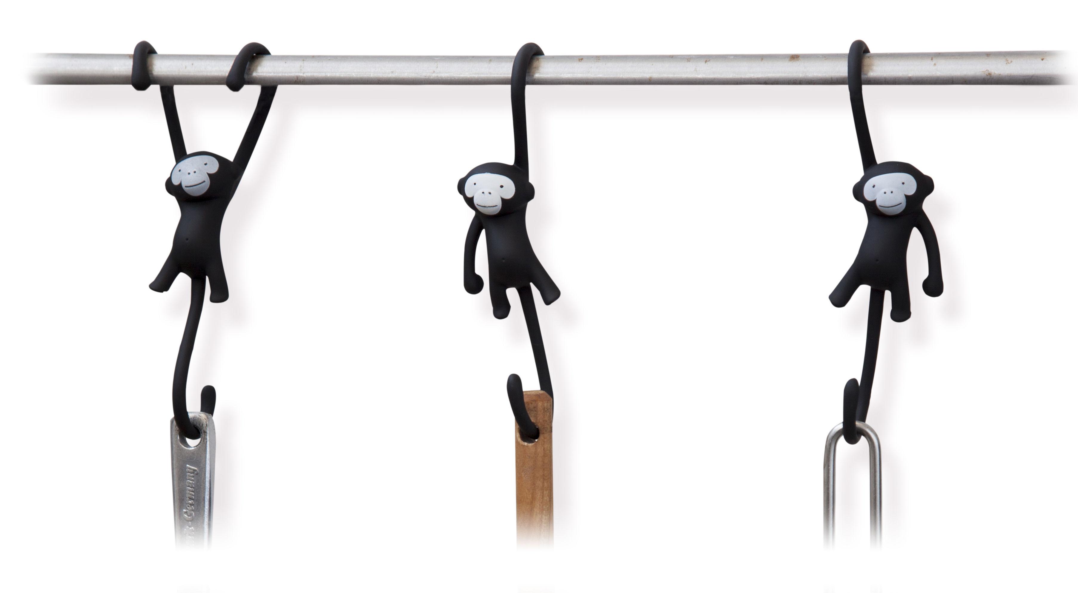 Accessoires - Accessoires für das Bad - Just hanging Haken / 3er-Set - Pa Design - Schwarz - Plastikmaterial
