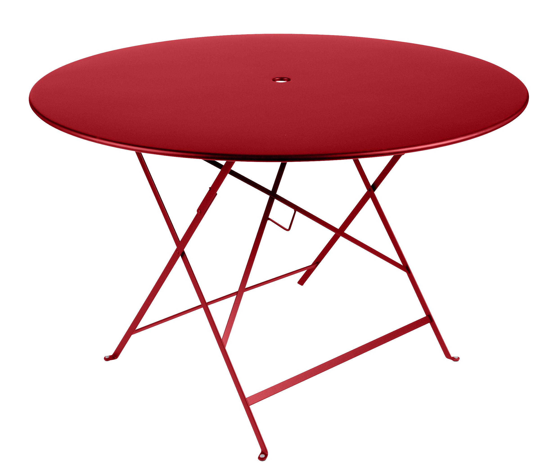 Outdoor - Tische - Bistro Klapptisch / Ø 117 cm - für 6 bis 8 Personen - mit Sonnenschirmloch - Fermob - Klatschmohn - bemalter Stahl