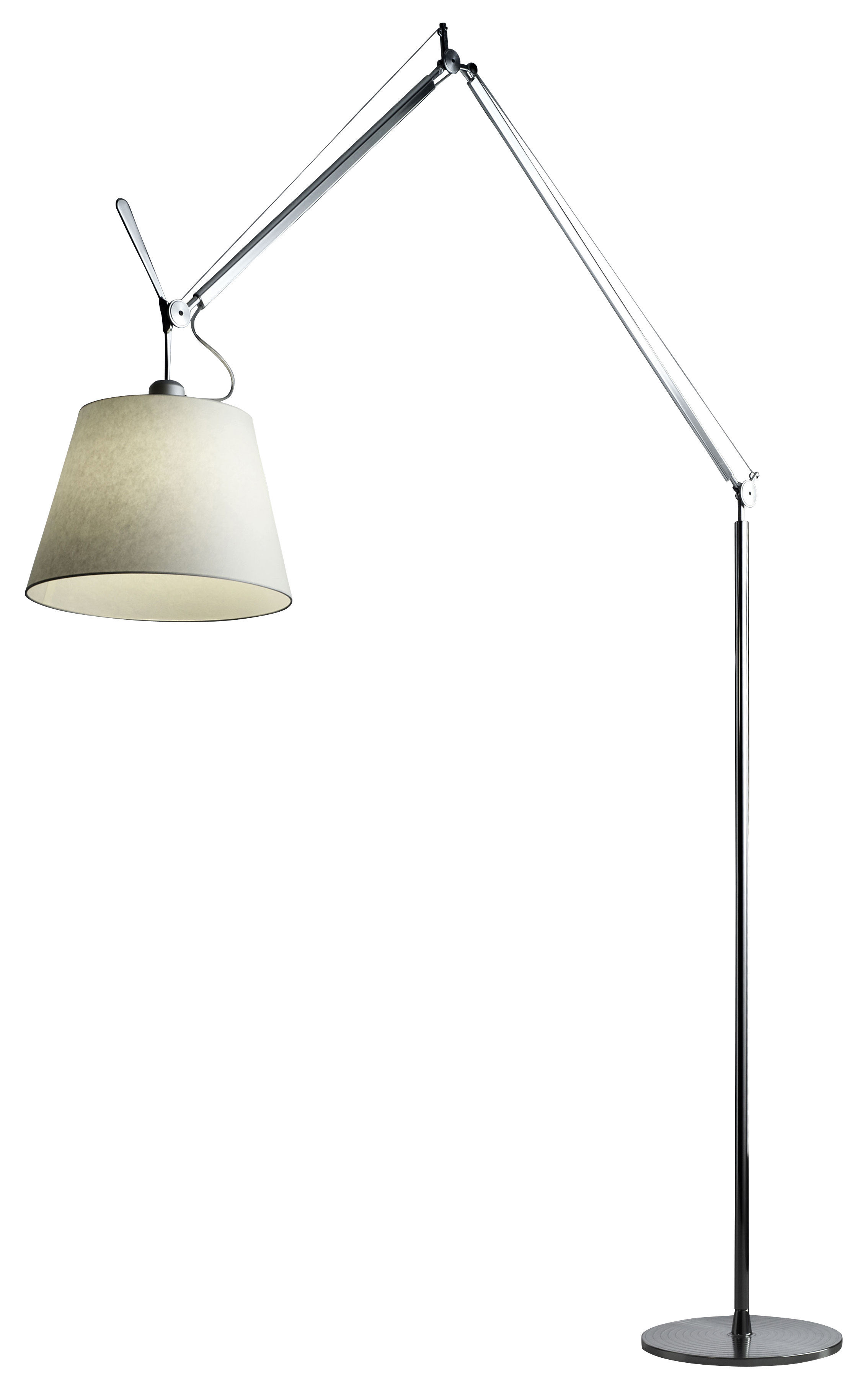 Illuminazione - Lampade da terra - Lampada a stelo Tolomeo Mega di Artemide - Paralume 36 cm - Alluminio, Carta pergamena