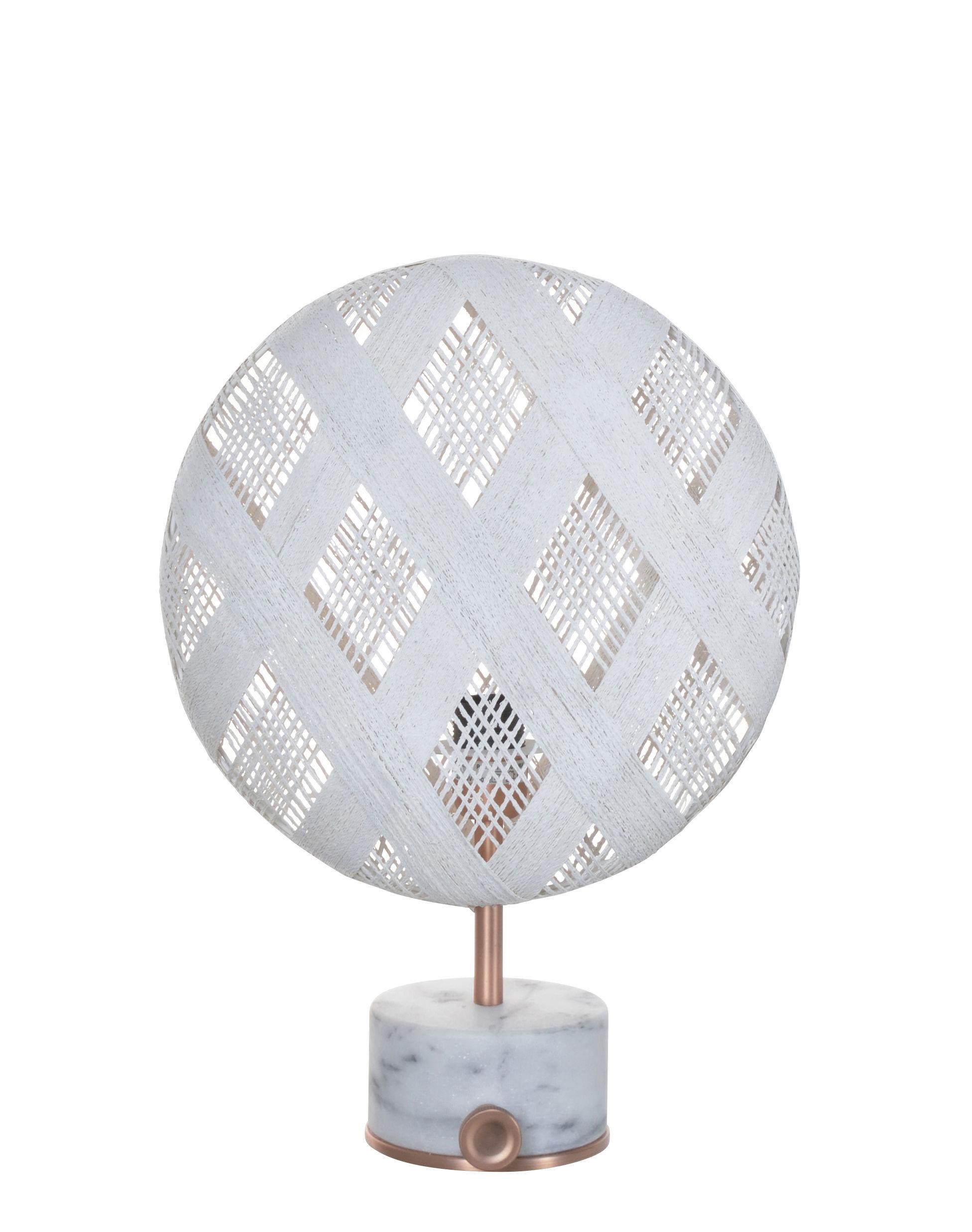 Illuminazione - Lampade da tavolo - Lampada da tavolo Chanpen Diamond - / Ø  26 cm - Motivi losanghe di Forestier - Bianco / Rame - Marmo, Metallo, Tessuto in abaca