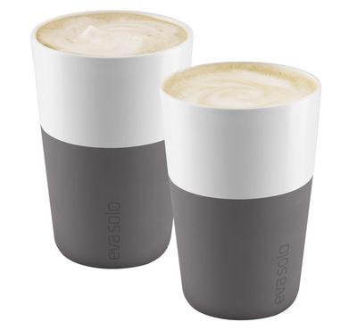 Tableware - Coffee Mugs & Tea Cups - Cafe Latte Mug - Set of 2 - 360 ml by Eva Solo - White / Elephant gey silicone - China, Silicone