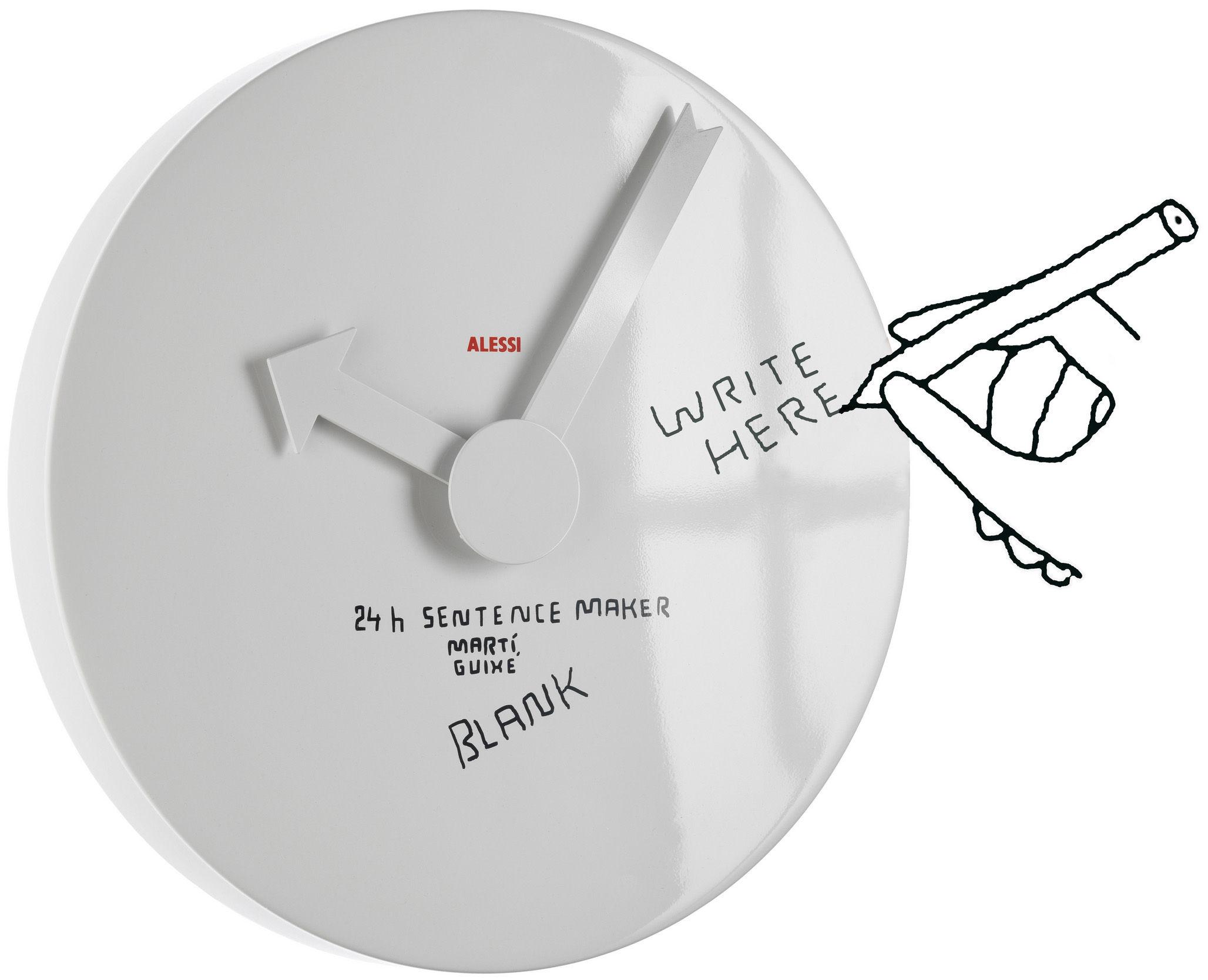 Interni - Orologi  - Orologio murale Blank - Personalizzabile di Alessi - Bianco - Alluminio