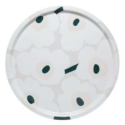 Arts de la table - Plateaux - Plateau Pieni Unikko / Bois - Ø 46 cm - Marimekko - Pieni Unikko / Blanc, beige, vert foncé - Laminé de bouleau