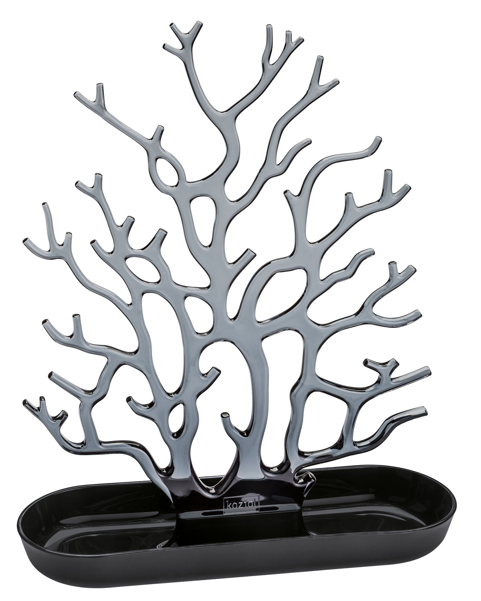 Accessori moda - Gioielli - Portagioie Cora - - H 32 cm di Koziol - Nero opaco / Antracite trasparente - Polipropilene
