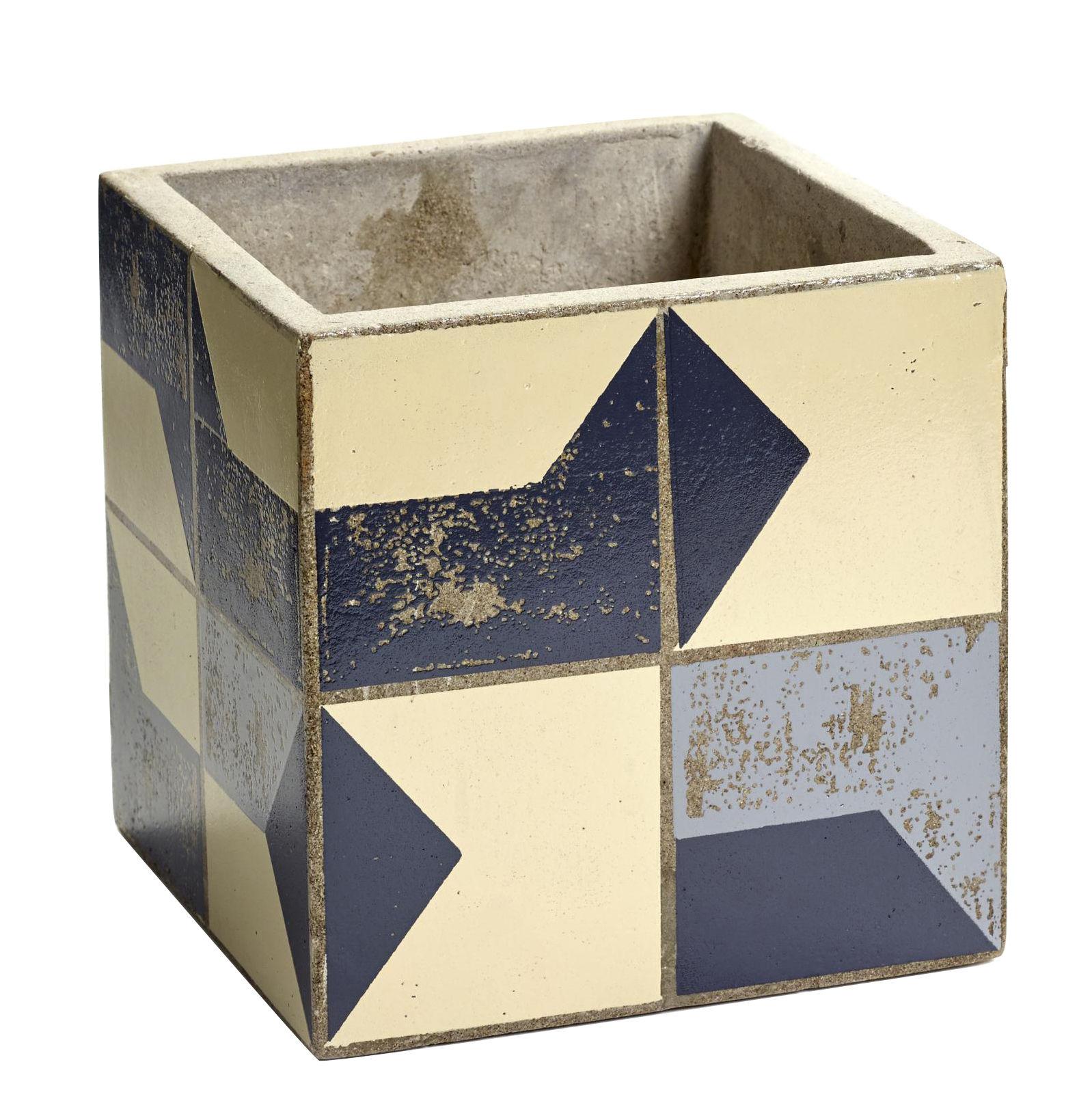 Déco - Pots et plantes - Pot Marie Graphique / 15x15 cm - Béton émaillé - Serax - Bleu & beige - Béton émaillé