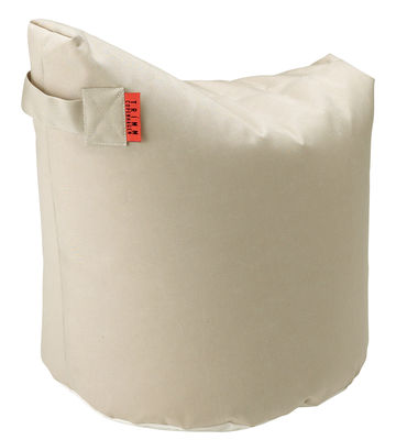 Furniture - Poufs & Floor Cushions - Satellite Small Pouf - H 48 cm by Trimm Copenhagen - Beige -  Microbilles EPS, Sunbrella canvas