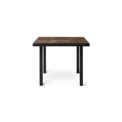 Outdoor - Garden Tables - Flod Tiles Rectangular table - / 81 x 91 cm - Hand-made clay tiles by Ferm Living - Mocha - Clay tiles, Powder coated steel