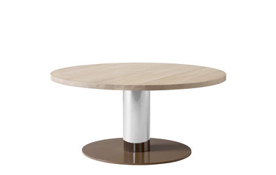 Furniture - Dining Tables - Mezcla JH20 Round table - / 80 x H 40 cm by &tradition - Oak / Chrome-plated / Clay - Epoxy lacquered steel, Galvanized steel, Solid oak