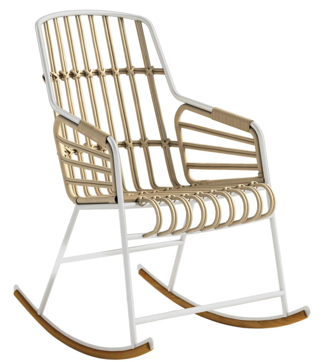 Möbel - Lounge Sessel - Raphia Schaukelstuhl - Casamania - Weiß - Jonc, lackiertes Metall