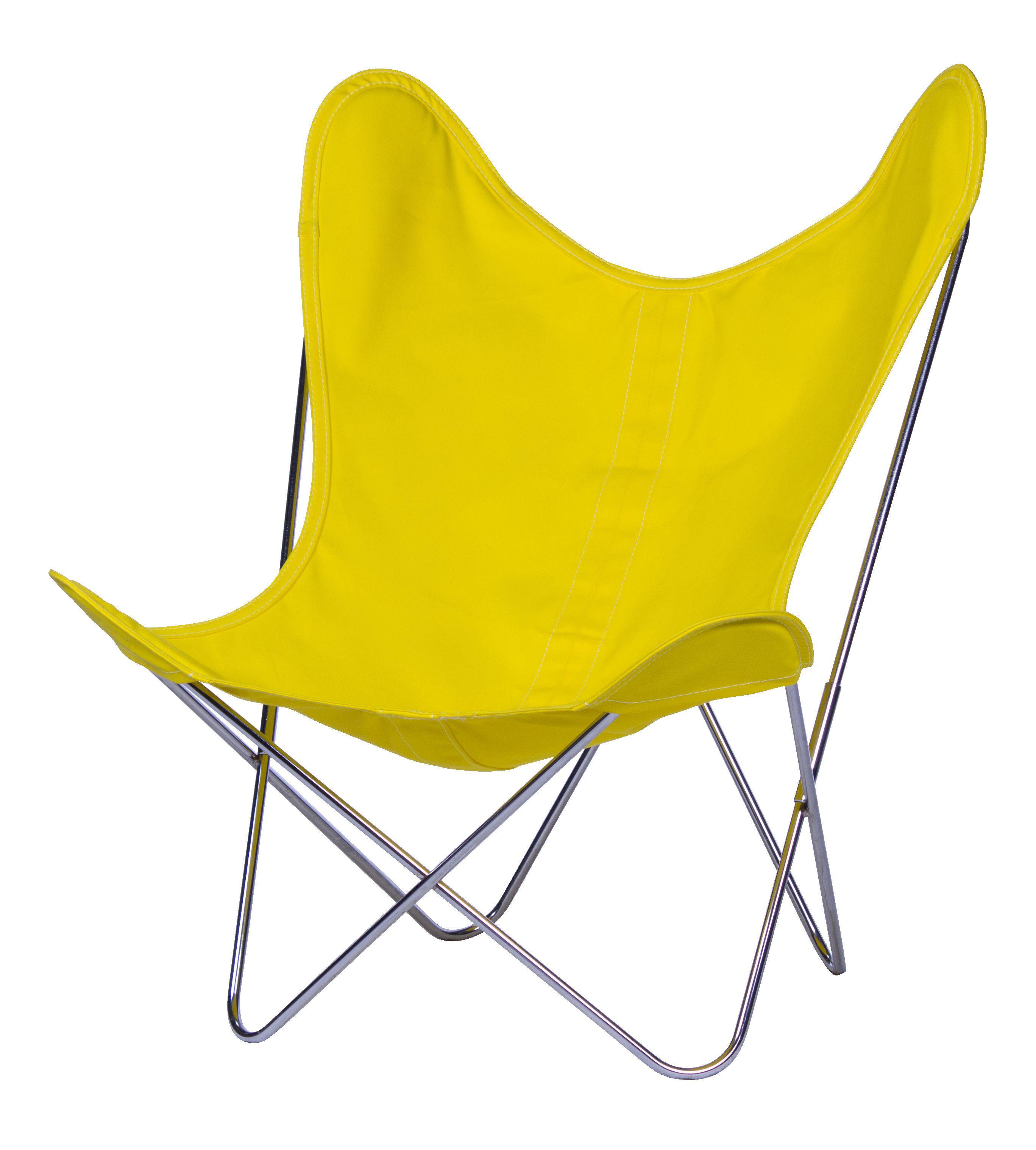 Möbel - Lounge Sessel - AA Butterfly Sessel Stoff / Gestell chrom-glänzend - AA-New Design - Gestell chrom-glänzend / Bezug Butterblume (gelb) - Leinen, verchromter Stahl
