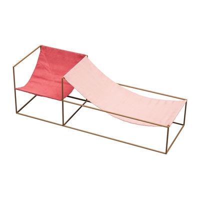 Möbel - Lounge Sessel - Duo Seat Sessel / Doppelsitz - 180 x 60 cm - Leinen und Stahl - valerie objects - Rot & Rosa / Gestell curryfarben - Leinen, Stahl