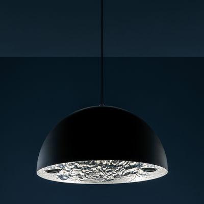 Suspension Stchu-moon 02 / LED - Ø 60 cm - Cuillères - Catellani & Smith noir,argent en métal