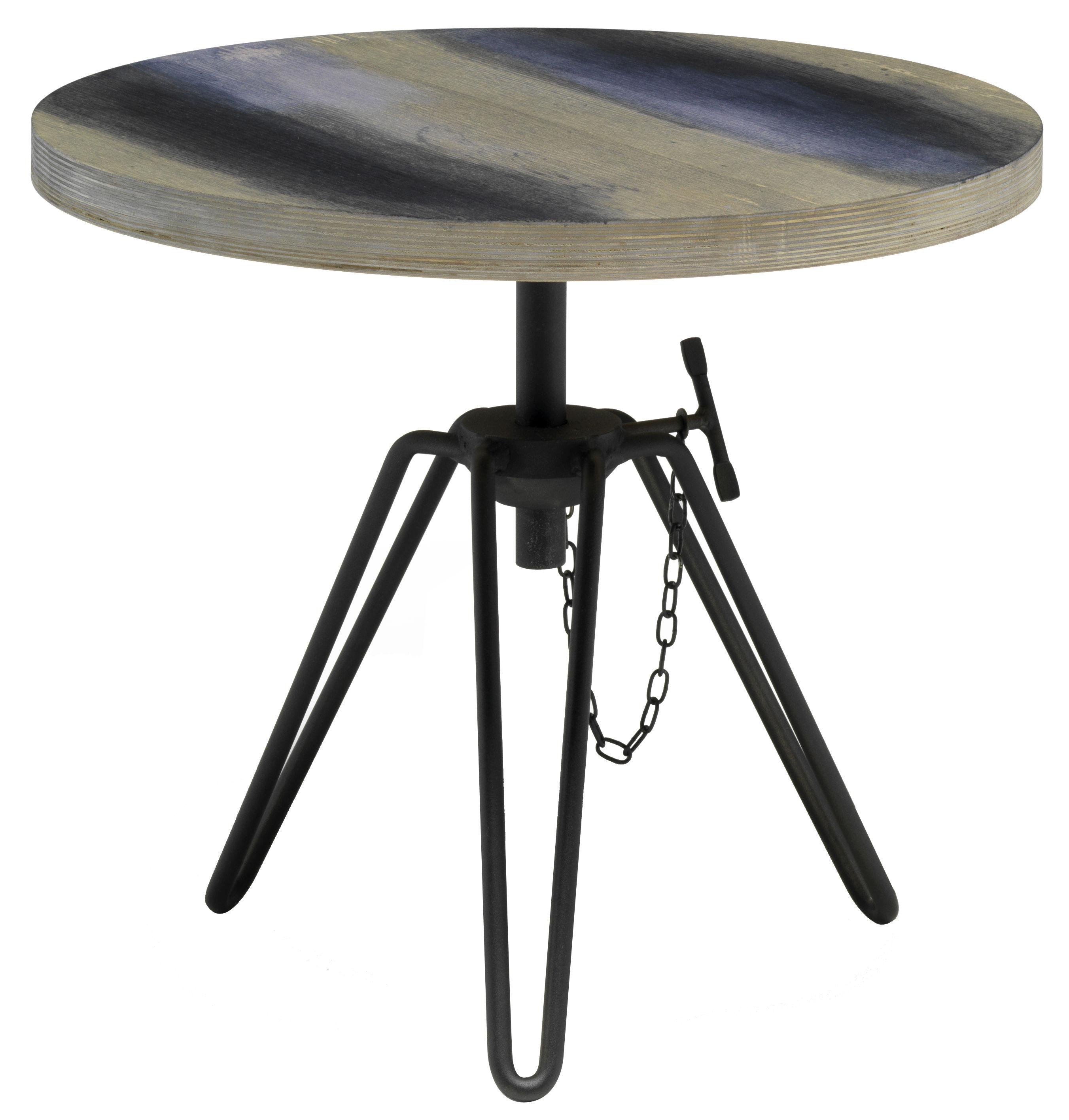 Mobilier - Tables basses - Table basse Overdyed / Hauteur réglable - Ø 50 cm - Diesel with Moroso - Gris délavé - Acier laqué, Verre