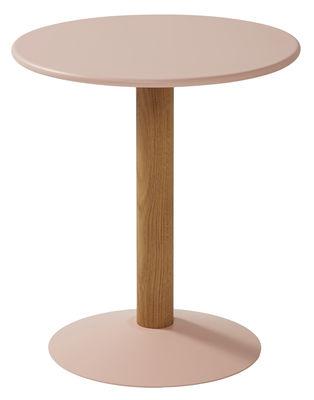 Mobilier - Tables basses - Table d'appoint C16 / Ø 45 x H 50 cm - Tolix - Rose poudré & bois - Acier laqué, Chêne massif