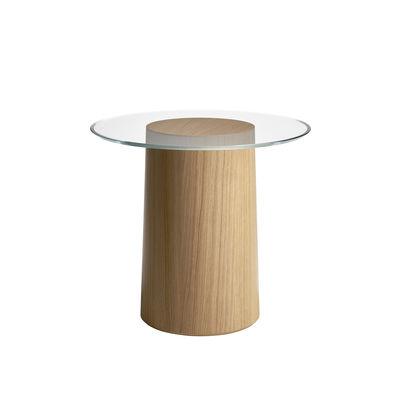 Mobilier - Tables basses - Table d'appoint Stub MS11 / Ø 49 - Fritz Hansen - Chêne - Multiplis bouleau plaqué chêne, Verre trempé