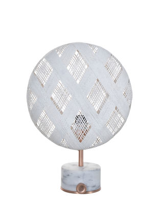 Lighting - Table Lamps - Chanpen Diamond Table lamp - Ø  26 cm - Diamond patterns by Forestier - White / Base copper - Marble, Metal, Woven acaba
