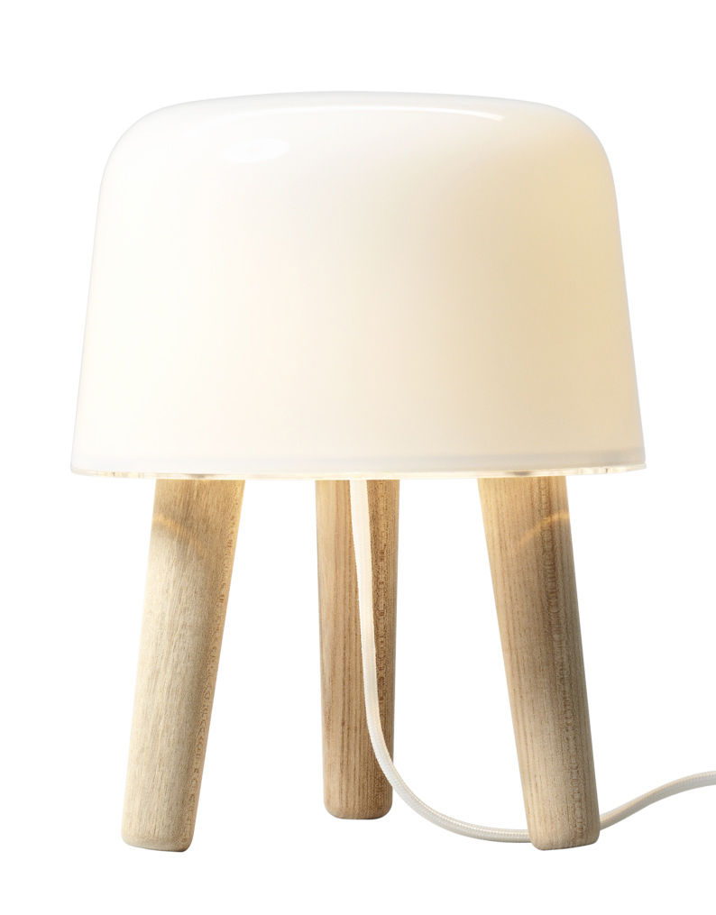 Lighting - Table Lamps - Milk Table lamp - Table lamp by And Tradition - White / White cable - Mouth blown glass, Solid oak