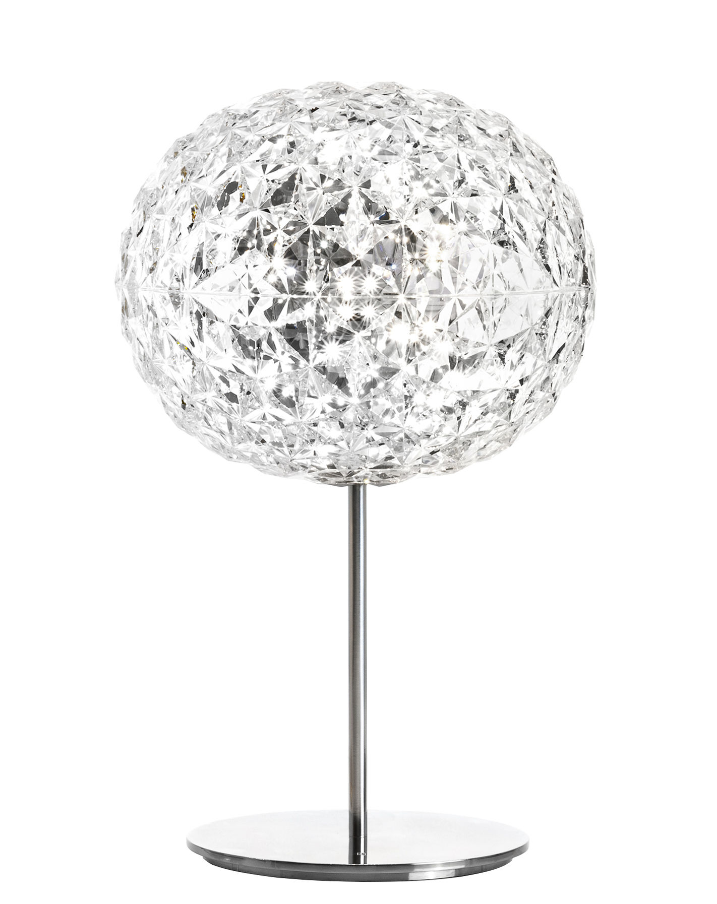 Lighting - Table Lamps - Planet Table lamp - LED - H 53 cm by Kartell - Crystal / Silver base - Aluminium, Thermoplastic technopolymer