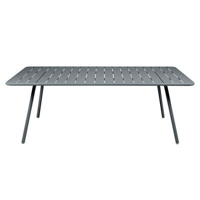 Table rectangulaire Luxembourg / 8 personnes - 207 x 100 cm - Aluminium - Fermob gris orage en métal