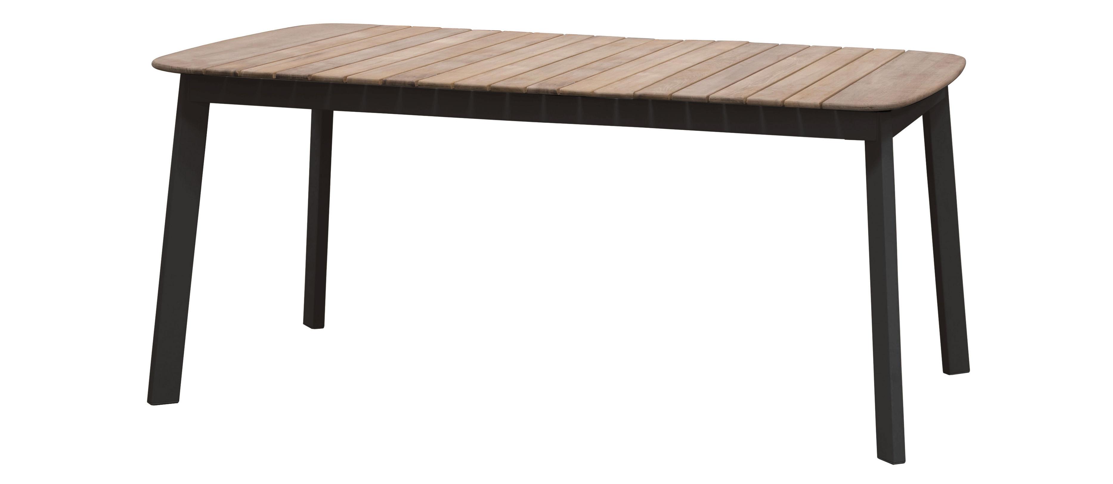 Jardin - Tables de jardin - Table Shine / Plateau Teck - 166 x 100 cm - Emu - Noir / Plateau teck - Aluminium verni, Teck
