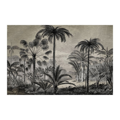 Interni - Tappeti - Tappeto Tresors - / 198 x 139 cm - Vinile di Beaumont - Palme n°1 / Bianco & nero - Vinile