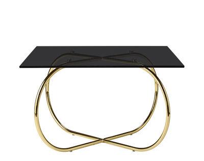 Arredamento - Tavolini  - Tavolino Angui - / Vetro - 75 x 75 cm di AYTM - Pied or / Plateau noir - Ferro laccato, Vetro