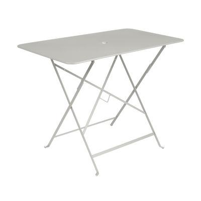 Outdoor - Tavoli  - Tavolo pieghevole Bistro - / 97 x 57 cm - 4 persone - Foro ombrellone di Fermob - Grigio argilla - Acciaio laccato