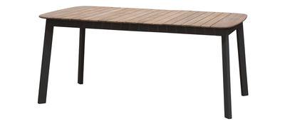 Outdoor - Tavoli  - Tavolo rettangolare Shine - / Plateau Teck - 166 x 100 cm di Emu - Nero / Piano teck - alluminio verniciato, Teck