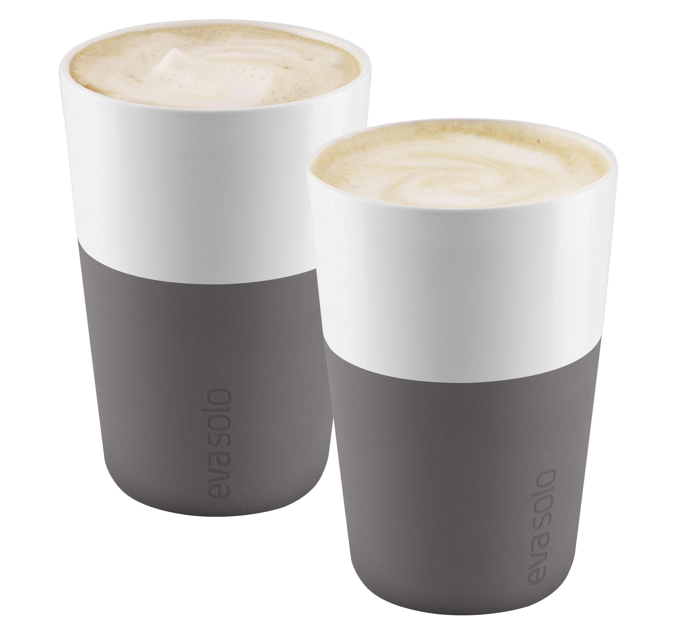 Tavola - Tazze e Boccali - Tazza Cafe Latte - /Set da 2 - 360 ml di Eva Solo - Bianco / Silicone grigio elefante - Porcellana, Silicone