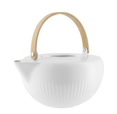 Kitchenware - Kettles & Teapots - Legio Nova Teapot - / 1.2 L - China and wood by Eva Trio - White / Oak handle - China, Oak