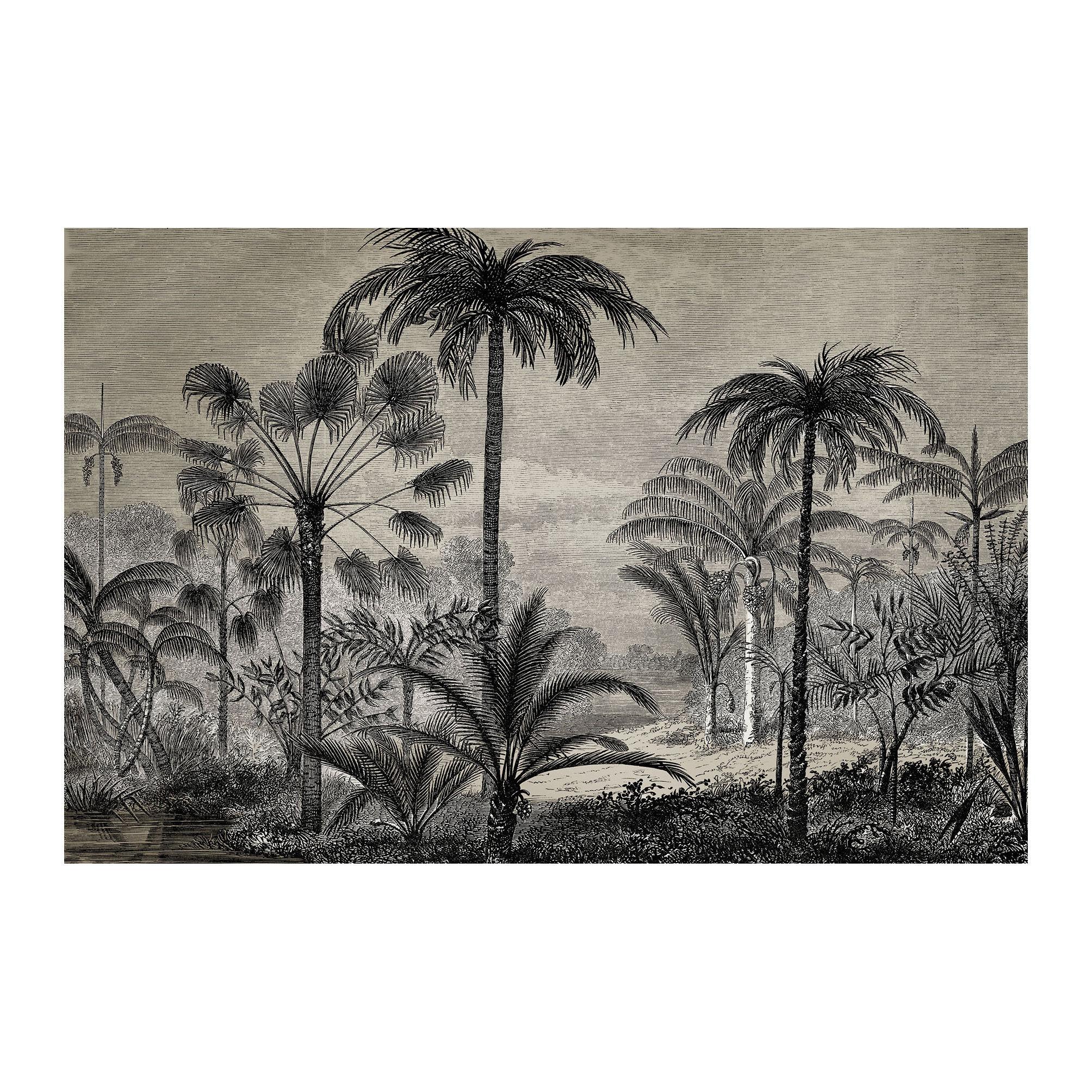 Dekoration - Teppiche - Tresors Teppich / 198 x 139 cm - Vinyl - Beaumont - Palmen Nr. 1 / Schwarz & weiß - Vinyl