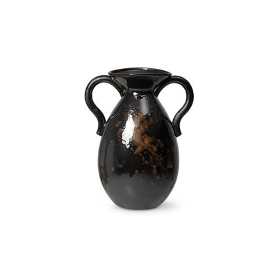 Decoration - Vases - Verso Vase - / Sandstone - H 49 cm by Ferm Living - Dark brown - Reactive glaze stoneware