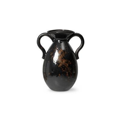 Dekoration - Vasen - Verso Vase / Steinzeug - H 49 cm - Ferm Living - Dunkelbraun - Reaktives Emailsteinzeug
