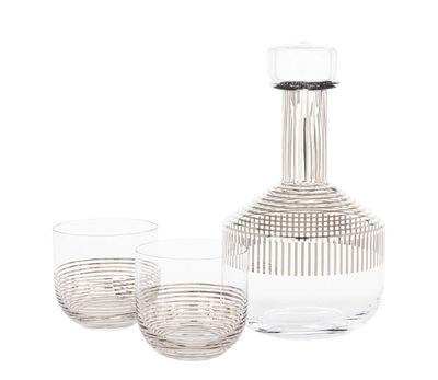 Tischkultur - Karaffen - Tank Platinium Whiskey-Dekanter / + 2 Gläser - Tom Dixon - Transparent / Streifen platinfarben - mundgeblasenes Glas, Platin