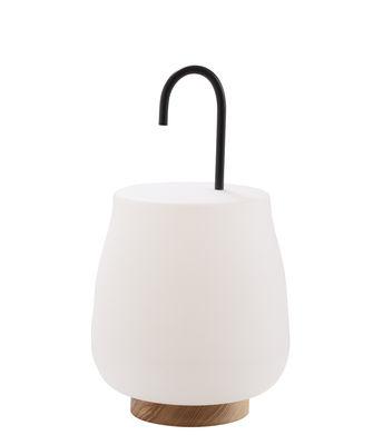 Luminaire - Luminaires d'extérieur - Baladeuse Dôt - Cinna - Blanc & bois / Crochet noir - Acier laqué époxy, Frêne huilé, Polyéthylène