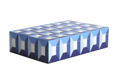 Decoration - Decorative Boxes - Sorrento Large Box - / Lacquered wood - 30 x 20 cm by Jonathan Adler - Large / Blue & White - Lacquered wood
