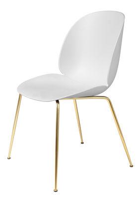 Furniture - Chairs - Beetle Chair - /Gamfratesi – Brass legs by Gubi - White/Brass legs - Brass plated steel, Polypropylene