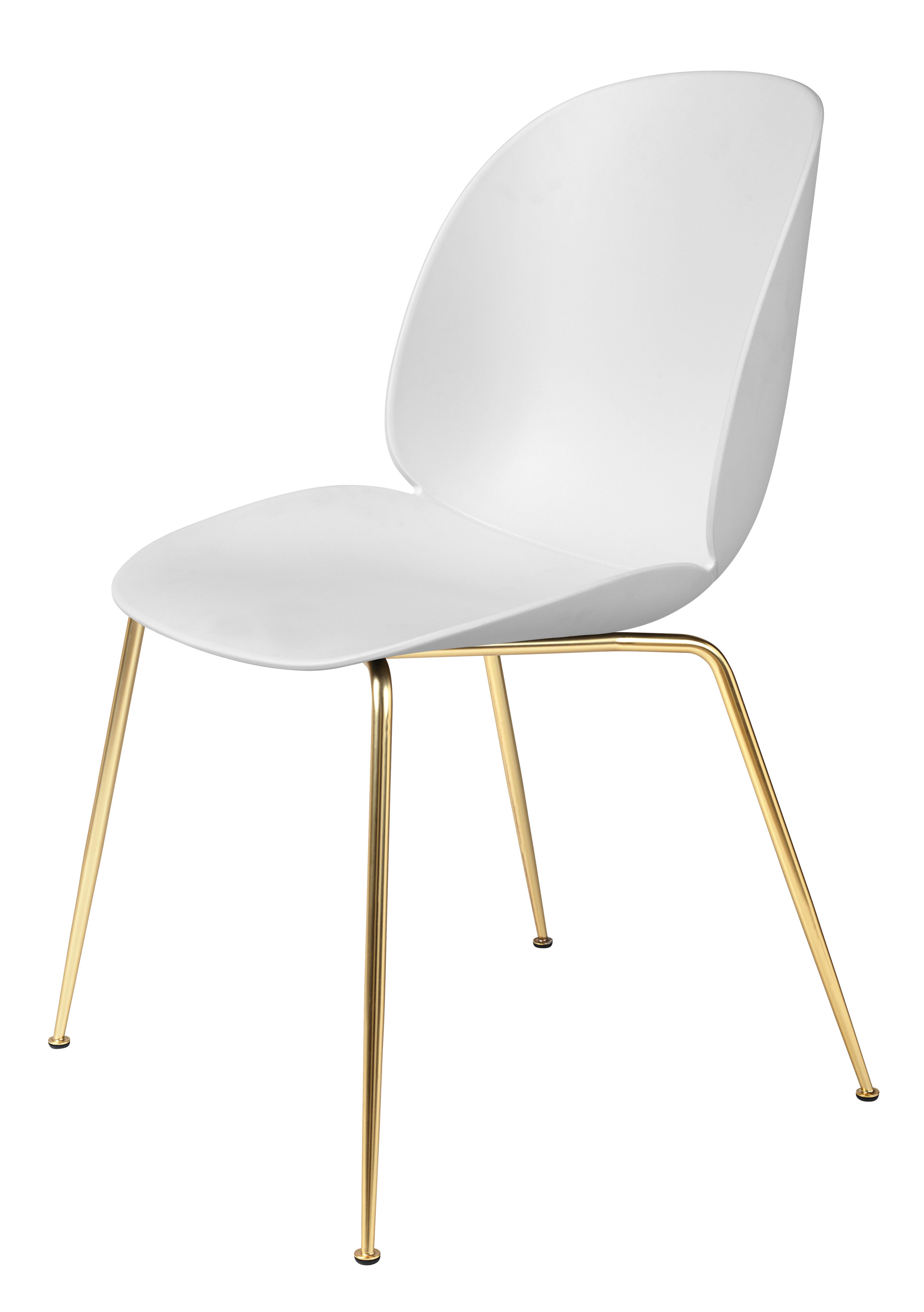Mobilier - Chaises, fauteuils de salle à manger - Chaise Beetle / Gamfratesi - Pieds laiton - Gubi - Blanc / Pieds laiton - Acier plaqué laiton, Polypropylène